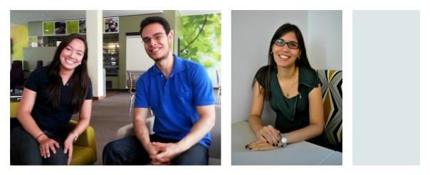Mariana, Fabricio e Arielle (da esquerda para a direita) falaram sobre suas experiências